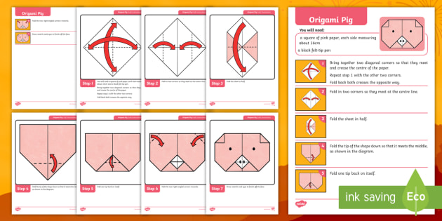 A paper origami pig paper zoo element f Royalty Free Vector | 315x630