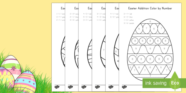 easter addition color by number worksheet activity sheet