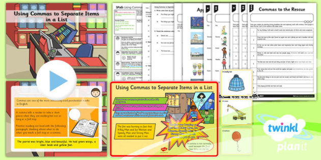 PlanIt Y2 SPaG Lesson Pack: Using Commas to Separate Items in a List - GPS, Grammar, Lists, Commas