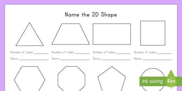 Name The 2D Shape Worksheet / Activity Sheet