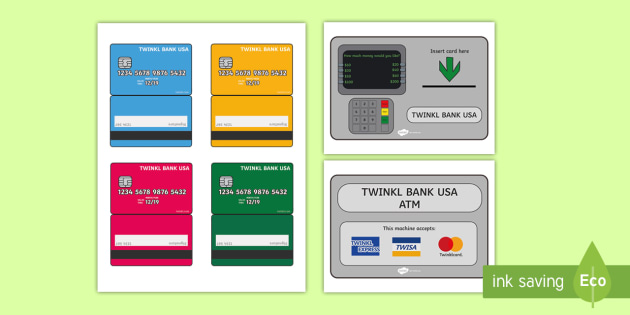USA Bank Dramatic Play ATM Posters - Dramatic Play, Atm, Role Play