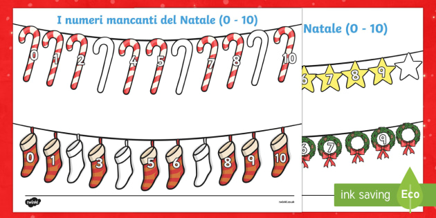Numeri mancanti di Natale 0 - 10 - Numeri mancanti di natale, natale, 1, 10, matematica, numeri, natale, festivo, natalizio, italian, b