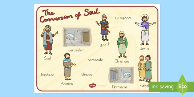 The Conversion of Saul Word Mat - usa, america, mats, words, literacy, visual, conversion, saul, bible stories, road to damascus