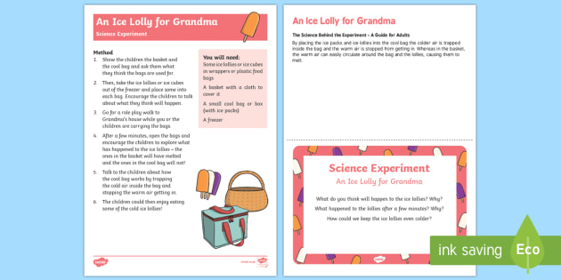 EYFS An Ice Lolly for Grandma Science Experiment and Prompt Card Pack - EYFS, Early Years, Little Red Riding Hood, science, investigation,materials, ice, melting, UtW, Unde