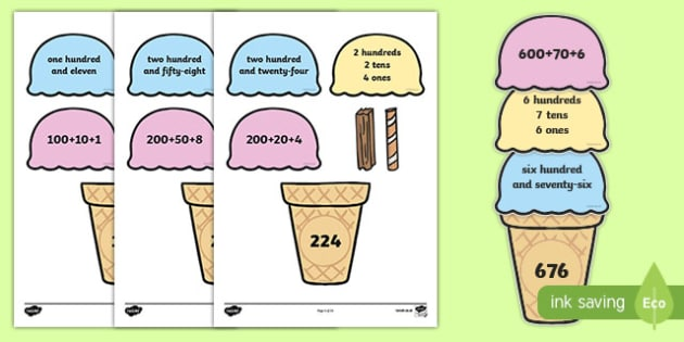 Place Value Ice Cream Cone Match Activity Hundreds Tens and Ones