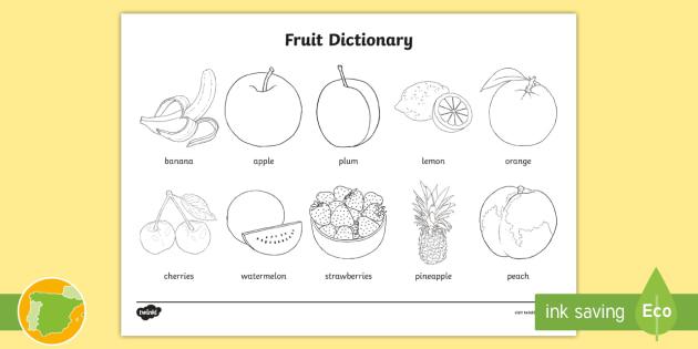 A2 Diccionario Para Colorear La Fruta En Inglés English