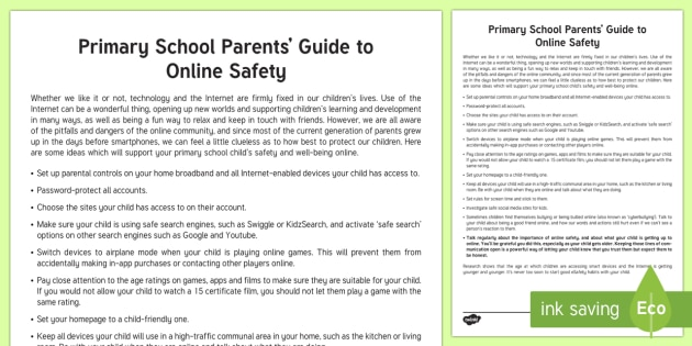 Parents' Guide to eSafety for Primary School Children Parent and Carer Information Sheet - wellbeing, esafety, internet, safety, cyberbullyinh