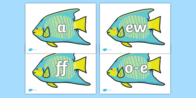 Phoneme Set on Angel Fish - Phoneme set, phonemes, phoneme, Letters and Sounds, DfES, display, Phase 1, Phase 2, Phase 3, Phase 5, Foundation, Literacy