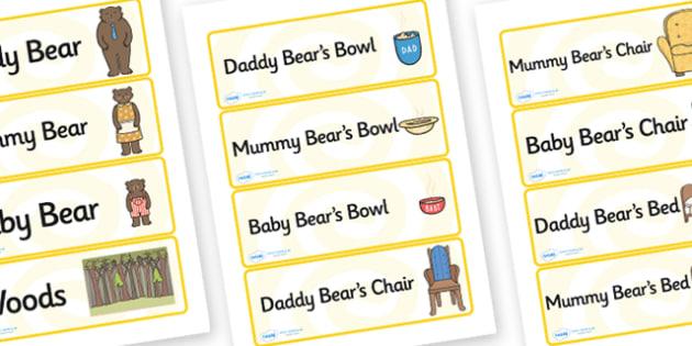 Three Bears Cottage Labels - three bears, cottage, labels, three bears labels, three bears cottage labels, labels for three bears cottage, bears labels