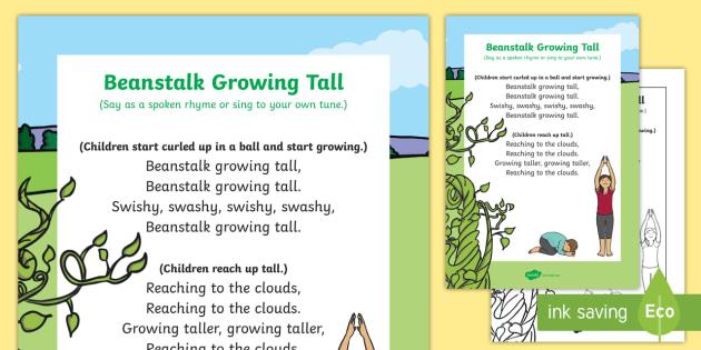 Beanstalk Growing Tall Song - Jack, Jack and the Beanstalk, beans, nursery rhymes, rhyme