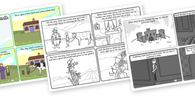 Jack and the Beanstalk 4 per A4 Story Sequencing Cards - sequencing, story sequencing, stories, story, jack and the beanstalk, jack and the beanstalk story sequencing, jack and the beanstalk story, story resources, tells the story, reading, books, bo