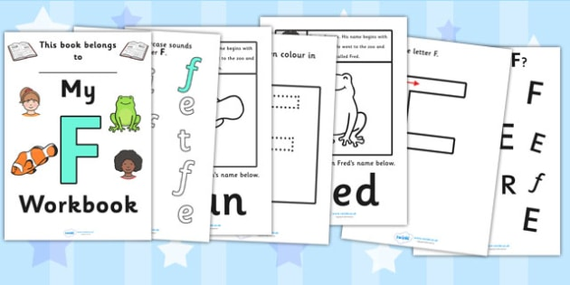 My Workbook F uppercase - workbook, F sound, uppercase, letters, alphabet, activity, handwriting, writing