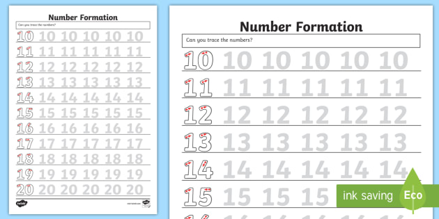 Number Formation 10 to 20 Worksheet - Number Formation Worksheet 0 to 9