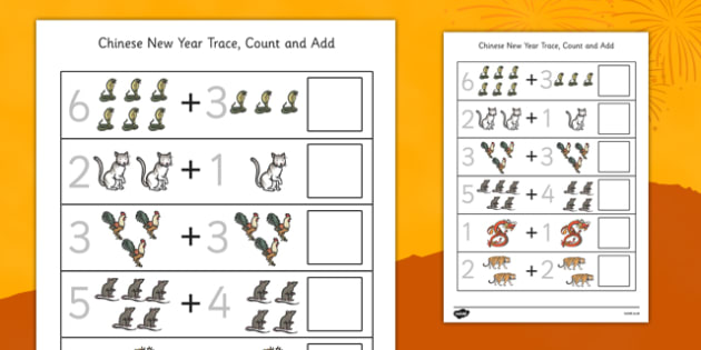 Chinese New Year Trace Count and Add Worksheet - Worksheet, Maths