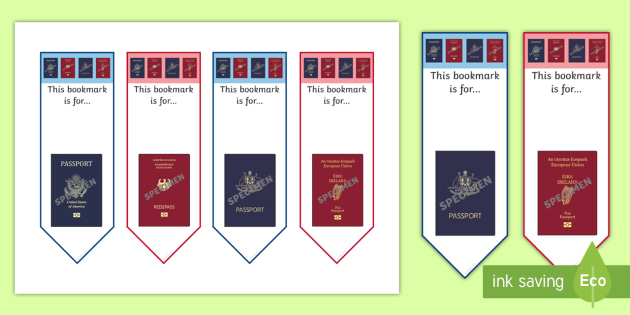 Passport Themed Bookmarks - passport, bookmarks, book marks, book