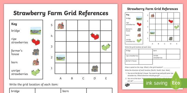 Strawberry Farm Grid Reference Worksheet Activity Sheet