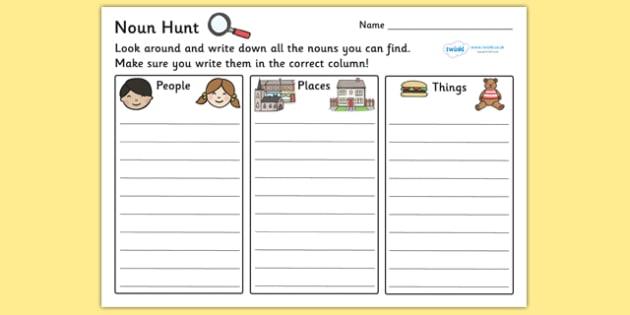 Noun Hunt Worksheet - worksheets, worksheet, work sheet, non