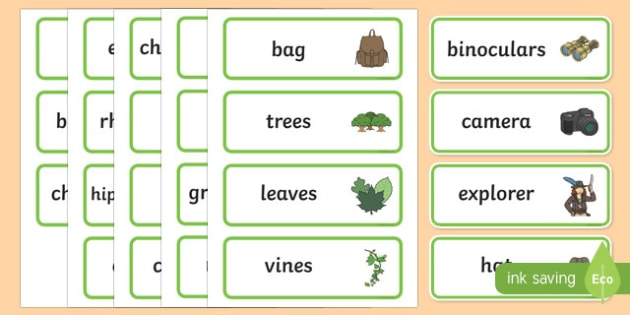 African Jungle Explorers Role Play Word Cards