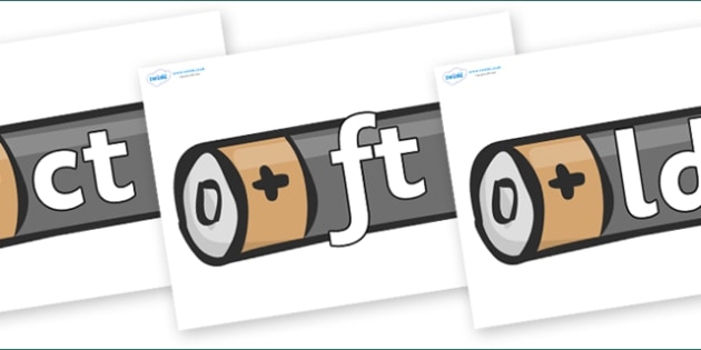 Final Letter Blends on Battery - Final Letters, final letter, letter blend, letter blends, consonant, consonants, digraph, trigraph, literacy, alphabet, letters, foundation stage literacy