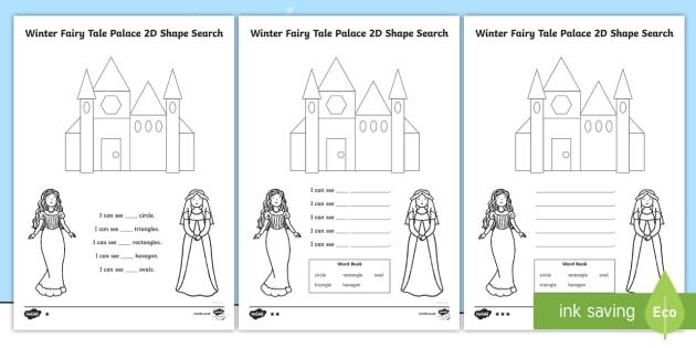 Winter Fairy Tale Palace 2D Shape Search Activity