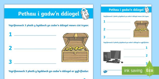 Taflen Weithgaredd E Ddiogelwch Pethau i Gadw'n Ddiogel Taflen Weithgaredd - E-Ddiogelwch, Cyfnod Sylfaen, Fframwaith Cymhwysedd digidol, Cyfrifiaduron.,Welsh, e-ddogelwch, eddiogelwch, diwrnod e-ddiogelwch, diwrnod eddiogelwch, diogelwch ar y we,  I