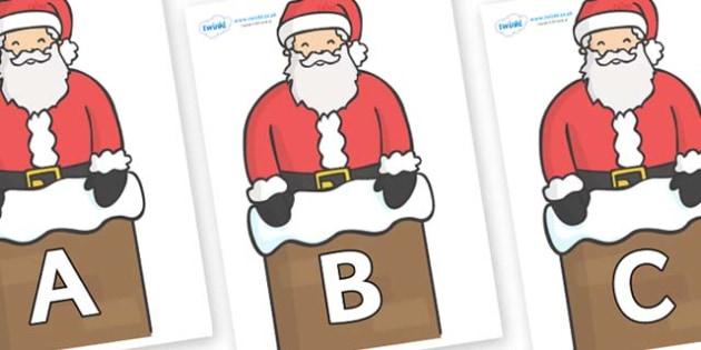 A-Z Alphabet on Santa (Chimney) - A-Z, A4, display, Alphabet frieze, Display letters, Letter posters, A-Z letters, Alphabet flashcards
