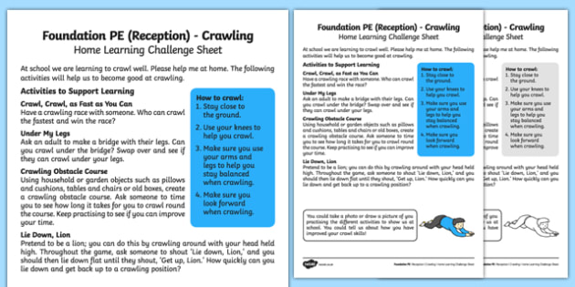 Foundation PE (Reception) - Crawling Home Learning Challenge Sheet - EYFS, PE, Physical Development, Planning