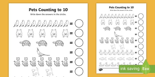 FREE! - Pets Counting Worksheets 1-10 Primary Resource Twinkl