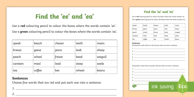 New Find The 39 Ee 39 And 39 Ea 39 Worksheet Phonics