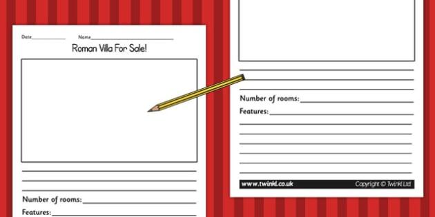 Roman Villa for Sale Writing Activity - writing template, romans