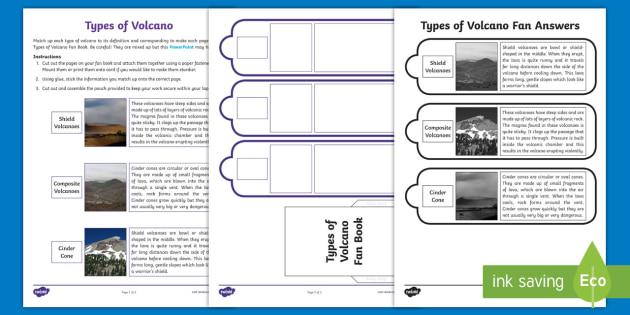 types of volcano fan book worksheet activity sheet shield. Black Bedroom Furniture Sets. Home Design Ideas
