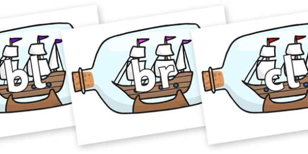 Initial Letter Blends on Ship in a Bottles - Initial Letters, initial letter, letter blend, letter blends, consonant, consonants, digraph, trigraph, literacy, alphabet, letters, foundation stage literacy