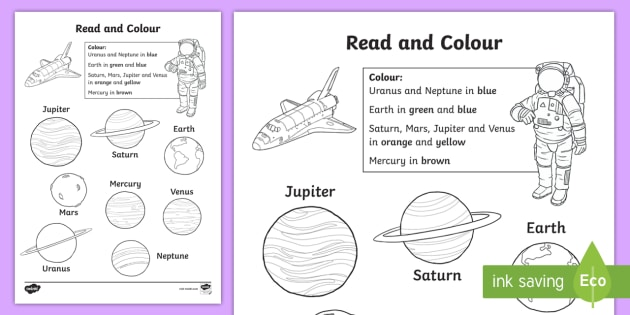Planet Read And Colour Worksheet Worksheet Space