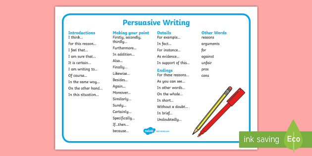 phrases for persuasive writing Score = 4 sufficient provides clear ideas, but not fully developed may have few details provides a clear sequence of information provides pieces of information.
