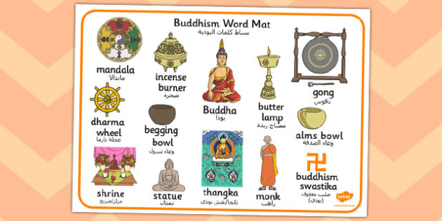Buddhism Word Mat Arabic Translation - arabic, buddhism, word mat