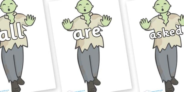 Tricky Words on Zombies - Tricky words, DfES Letters and Sounds, Letters and sounds, display, words