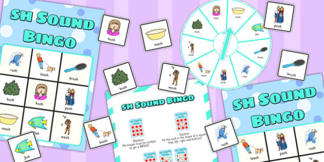 Final 'Sh' Sound Spinner Bingo - sh sound, final, spinner, bingo