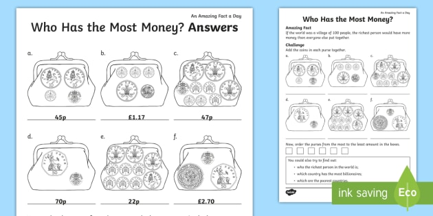 Who Has The Most Money Worksheet Activity Sheet Amazing
