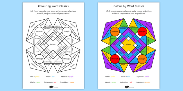 Colour by Word Class - colour, word, class, colouring, verbs, nouns