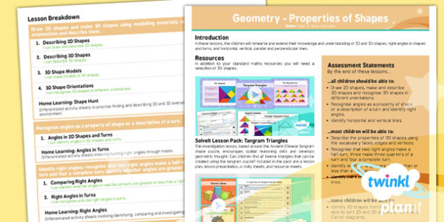 PlanIt Maths Y3 Properties of Shapes Unit Overview