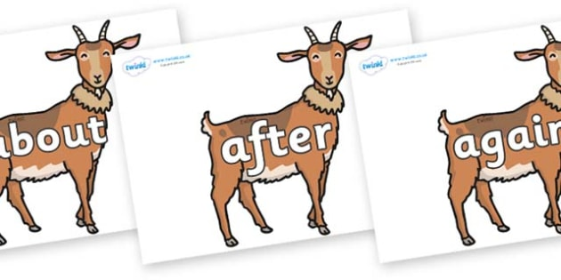 KS1 Keywords on Medium Billy Goats - KS1, CLL, Communication language and literacy, Display, Key words, high frequency words, foundation stage literacy, DfES Letters and Sounds, Letters and Sounds, spelling