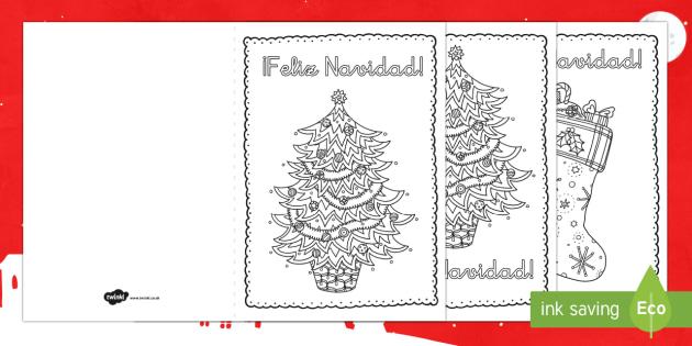 Mindfulness Colouring Christmas Cards-Spanish - Christmas, cards, colouring, mindfulness,Spanish, feliz navidad