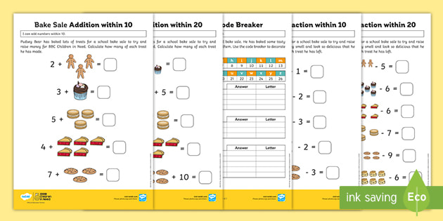 FREE! - KS1 BBC Children In Need Addition & Subtraction Maths Activities