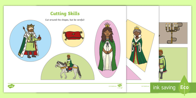 The Princess and the Pea Themed Cutting Skills Worksheet - cut