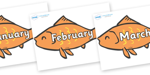 Months of the Year on Goldfish - Months of the Year, Months poster, Months display, display, poster, frieze, Months, month, January, February, March, April, May, June, July, August, September