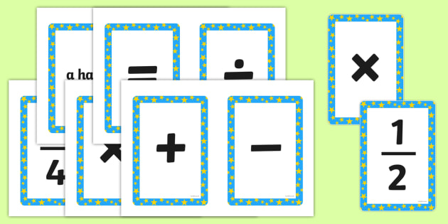 Maths Symbols Cards Math Symbol Numeracy Visual Aid