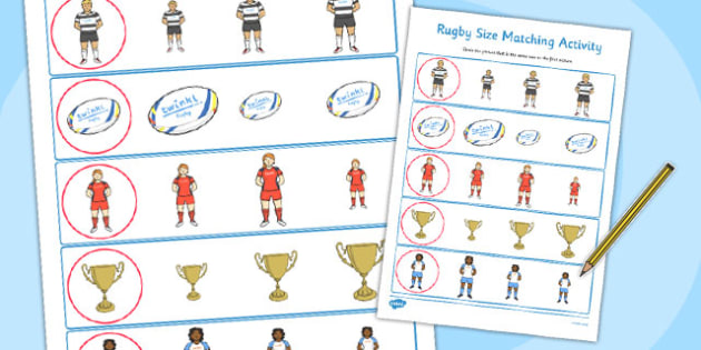 Rugby Size Matching Worksheets - rugby, size matching, worksheets