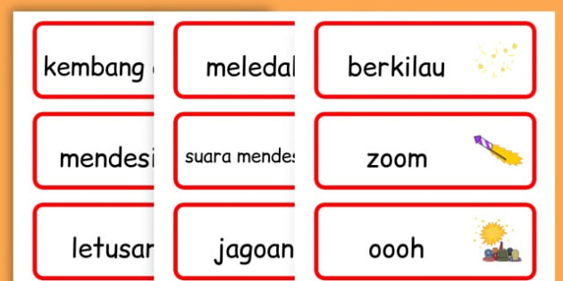 Chinese New Year Onomatopoeia Word Cards - australia, word cards - Indonesian