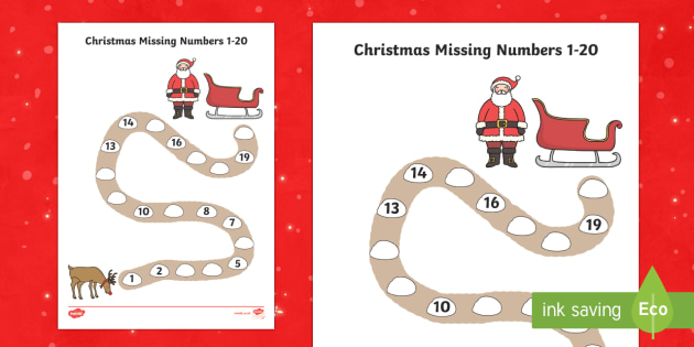 Christmas Path Missing Numbers to 20 Activity Sheet