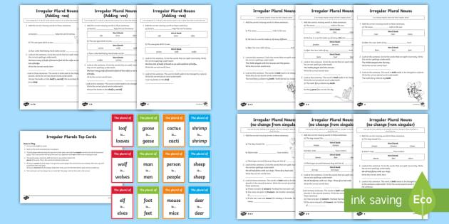 Irregular Plural Nouns Worksheet / Activity Sheet Resource Pack